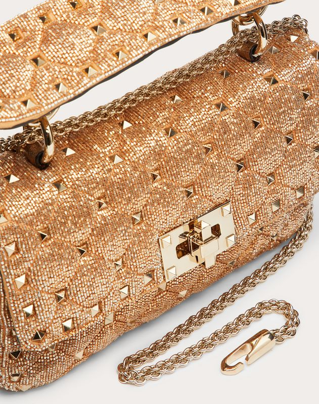 Small Rockstud Spike Bag with Beaded Detailing
