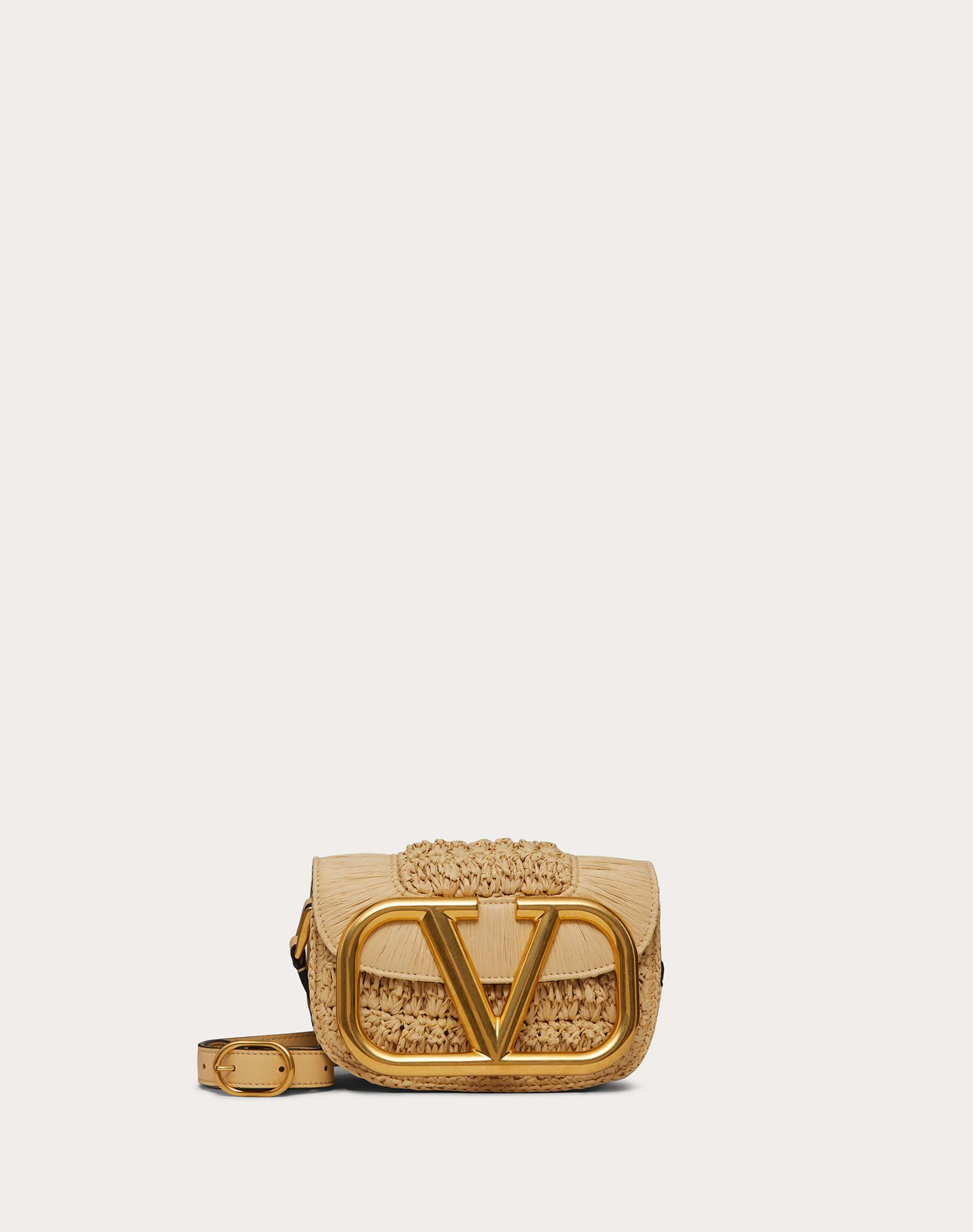 Small Supervee Raffia Crossbody Bag