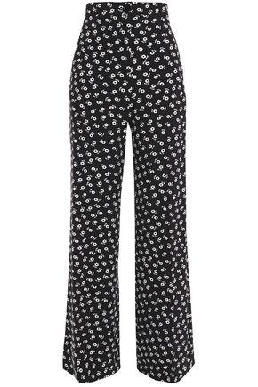 ALEXACHUNG Pleated floral-print crepe wide-leg pants
