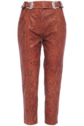 CLAUDIE PIERLOT Cropped snake-effect leather tapered pants