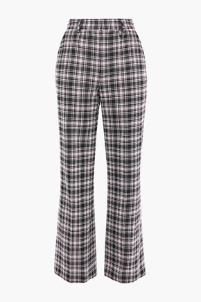 ALEXACHUNG Checked knitted flared pants
