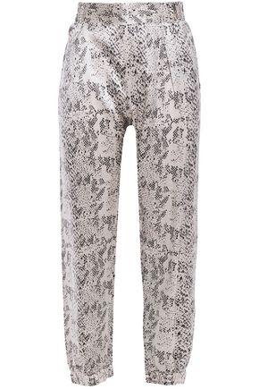 ATM ANTHONY THOMAS MELILLO Cropped snake-print silk-satin tapered pants