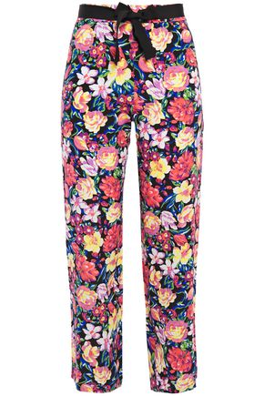 CLAUDIE PIERLOT Cropped grosgrain-trimmed floral-print crepe straight-leg pants