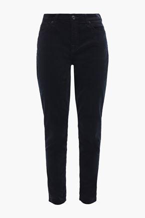 7 FOR ALL MANKIND Stretch-velvet slim-leg pants