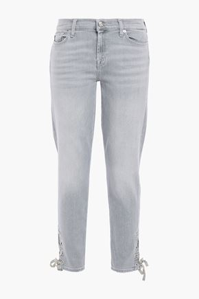 7 FOR ALL MANKIND The Skinny lace-up mid-rise skinny jeans