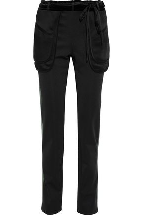 VALENTINO Satin-trimmed ponte slim-leg pants