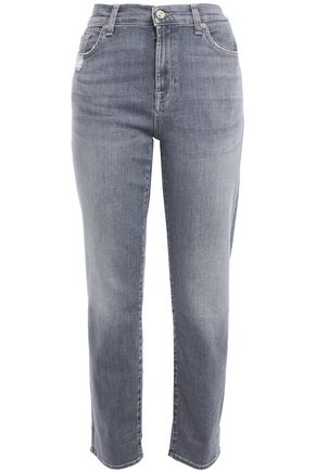 7 FOR ALL MANKIND Distressed high-rise slim-leg jeans