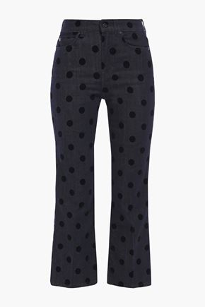 7 FOR ALL MANKIND Cropped polka-dot flocked high-rise bootcut jeans