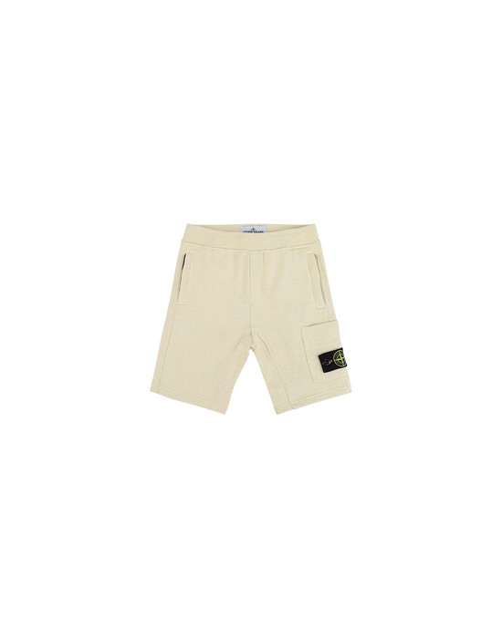STONE ISLAND BABY 60344  FLEECE BERMUDA SHORTS Man Lemon