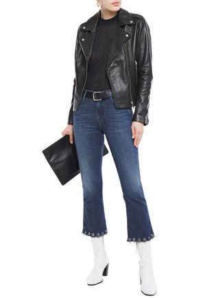7 FOR ALL MANKIND Cropped eyelet-embellished high-rise bootcut jeans