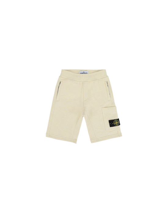 STONE ISLAND KIDS 60344  FLEECE BERMUDA SHORTS Man Lemon