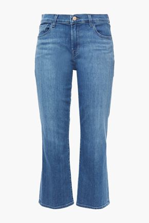 J BRAND Selena cropped faded mid-rise kick-flare jeans
