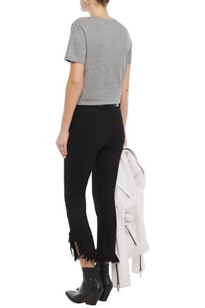 J BRAND Cropped distressed high-rise skinny jeans
