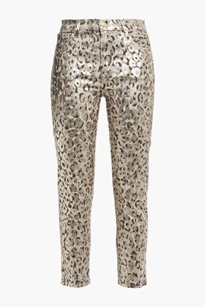 J BRAND Cropped metallic coated leopard-print mid-rise skinny jeans