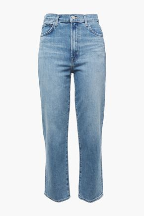 J BRAND Faded high-rise straight-leg jeans