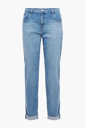J BRAND Cropped faded mid-rise boyfriend jeans