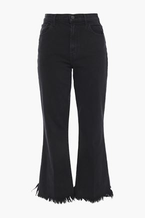 J BRAND Undercover frayed high-rise kick-flare jeans