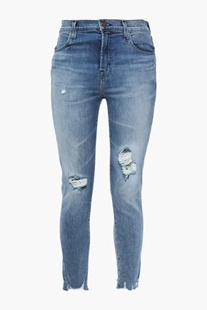 J BRAND Cropped distressed faded mid-rise skinny jeans