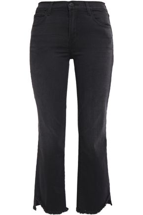 J BRAND Cropped frayed mid-rise bootcut jeans
