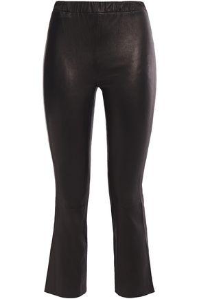 J BRAND Cropped stretch-leather kick-flare pants
