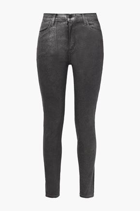 J BRAND Glittered coated high-rise skinny jeans