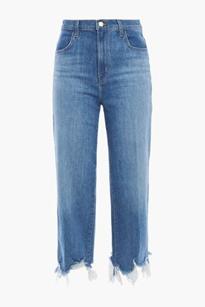 J BRAND Cropped distressed high-rise straight-leg jeans