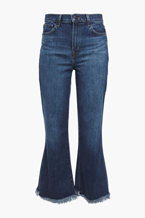 J BRAND Julia frayed faded high-rise flared jeans