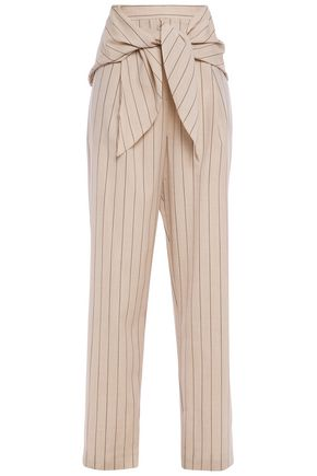 TIBI Tie-front pleated pinstriped wool tapered pants