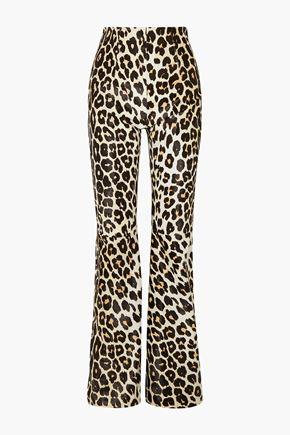 16ARLINGTON Newman leopard-print calf hair flared pants