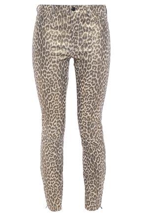 J BRAND Leopard-print stretch-leather skinny pants