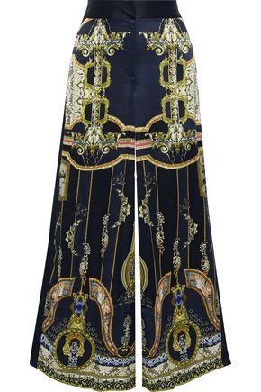 CAMILLA Midnight Meeting chiffon-trimmed printed silk-satin wide-leg pants