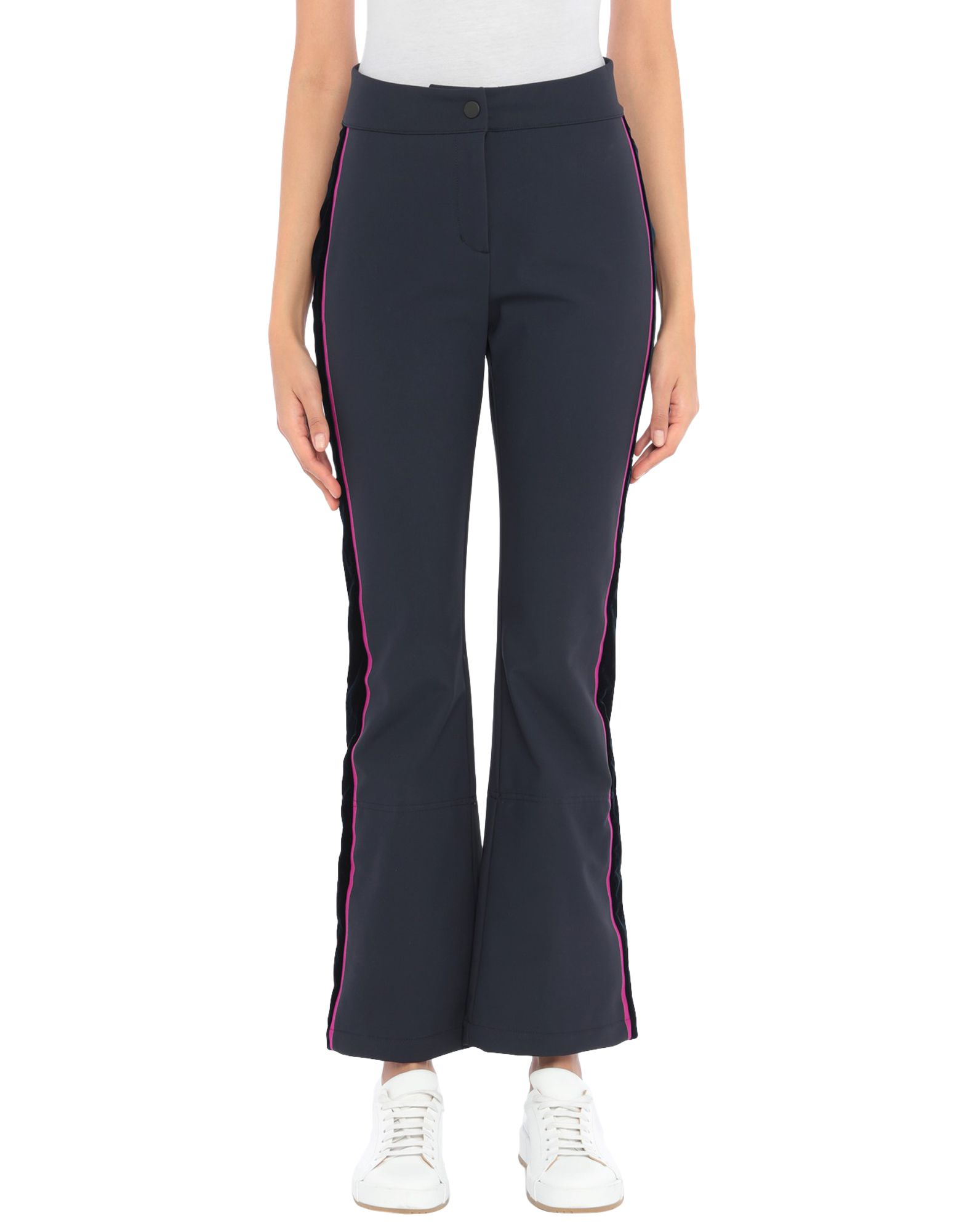 GIORGIO ARMANI Ski Pants. velvet, techno fabric, logo, side seam stripes, solid color, mid rise, regular fit, flare & wide-leg, button, zip, multipockets, stretch, limited edition, zips at hem, large sized. 79% Polyamide, 21% Elastane, Viscose, Cupro