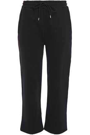 McQ Alexander McQueen Cropped embroidered French cotton-terry track pants