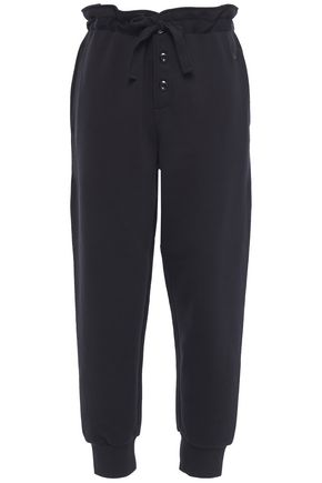 McQ Alexander McQueen Appliquéd French cotton-terry tapered pants