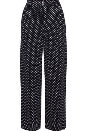 REBECCA TAYLOR Cropped polka-dot cady wide-leg pants