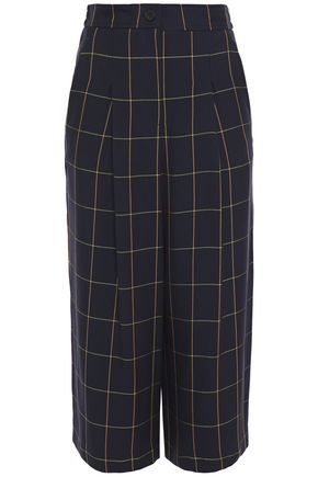 McQ Alexander McQueen Cropped pleated checked twill wide-leg pants