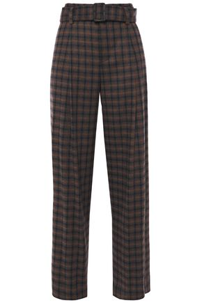 VINCE. Checked twill wide-leg pants