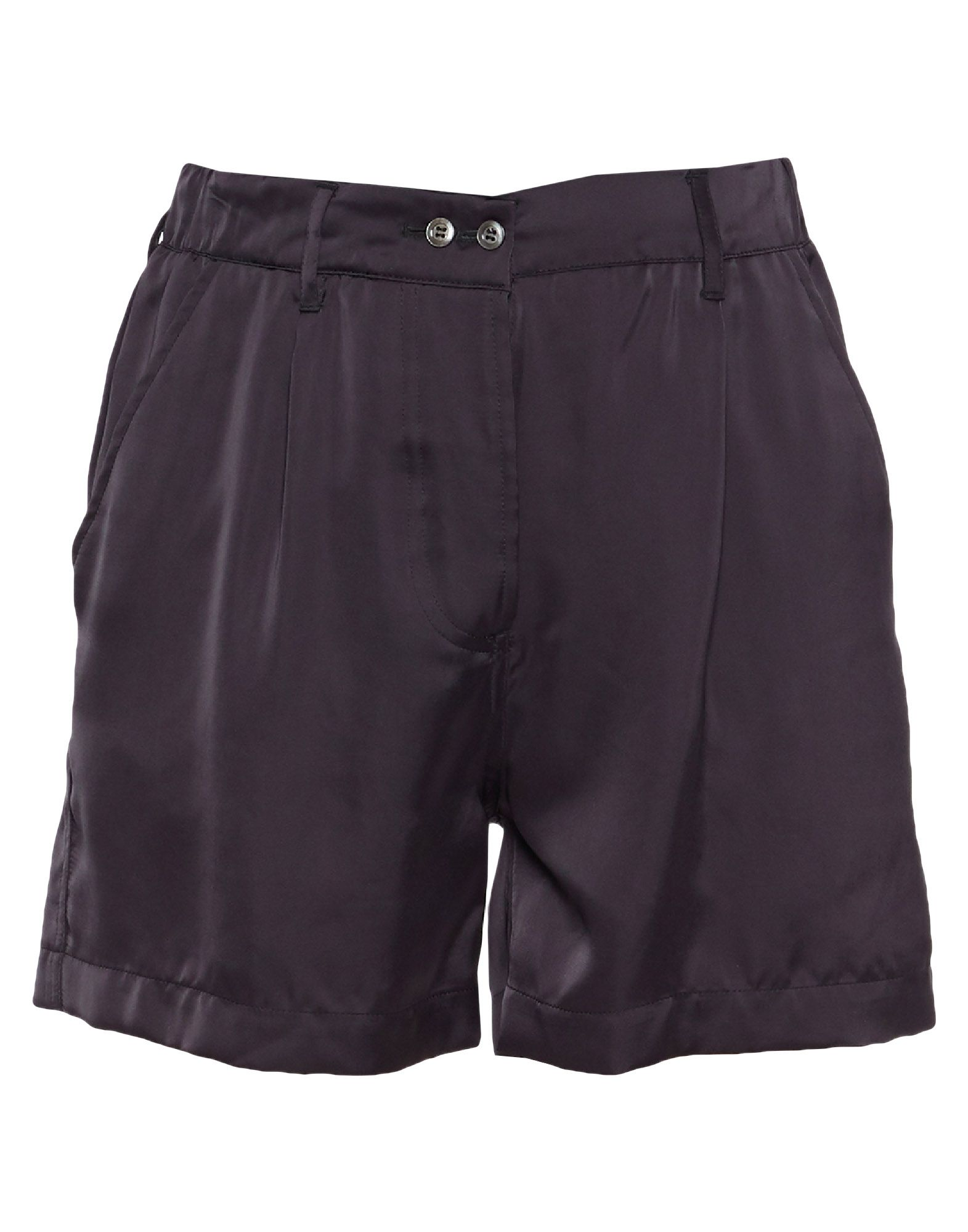 SANTONI Shorts. satin, solid color, regular fit, high waisted, straight leg, no appliqués, multipockets, button closing. 60% Triacetate, 40% Cupro