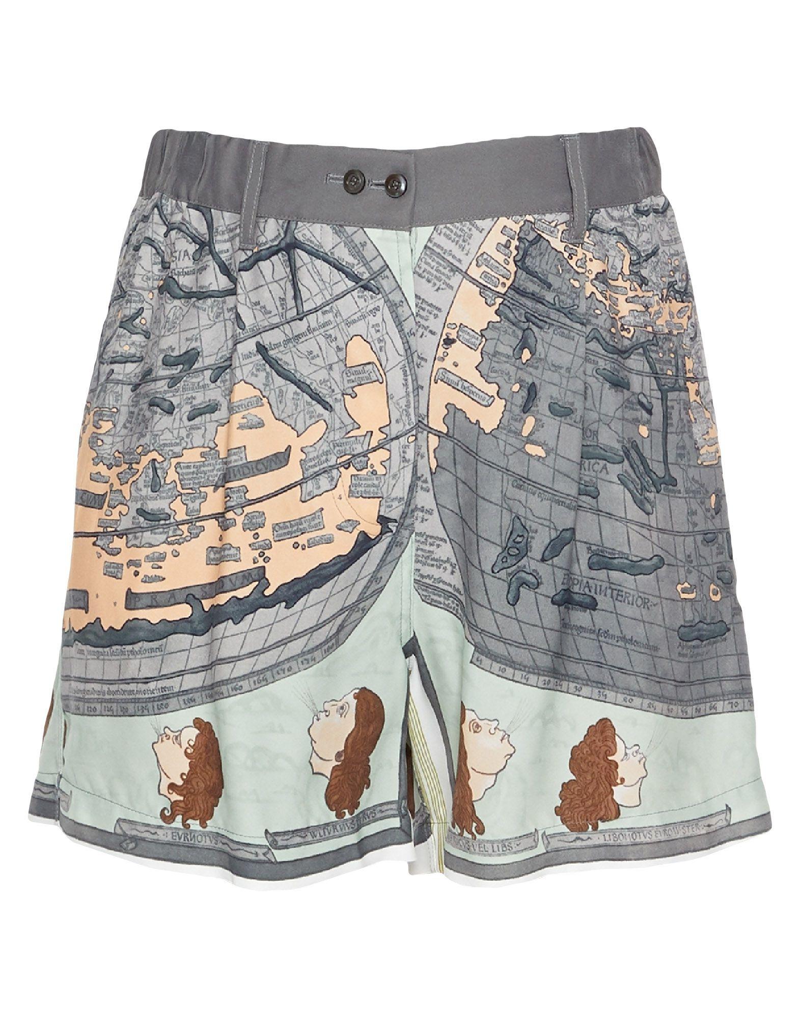 SANTONI Shorts. crepe, multicolor pattern, regular fit, high waisted, straight leg, single pocket, button closing. 100% Viscose