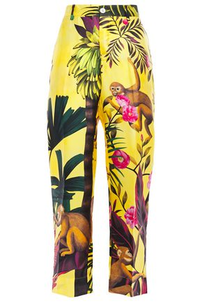 F.R.S. FOR RESTLESS SLEEPERS Zelos cropped printed silk-twill straight-leg pants