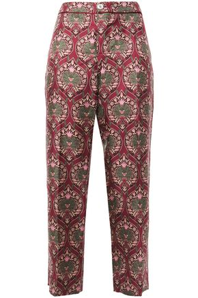 F.R.S. FOR RESTLESS SLEEPERS CEO cropped printed silk-twill straight-leg pants