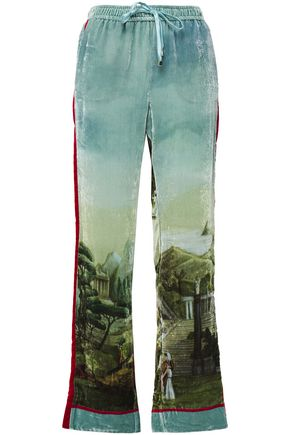 F.R.S. FOR RESTLESS SLEEPERS Ettore printed velvet straight-leg pants