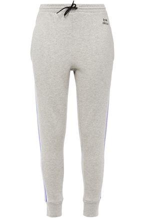 ÊTRE CÉCILE Mélange striped cotton-fleece track pants