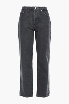 AMERICAN VINTAGE Distressed high-rise straight-leg jeans
