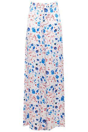 SEREN LONDON Joni printed silk-satin wide-leg pants