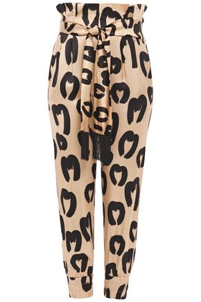 MOTHER OF PEARL Nancy belted printed satin tapered pants