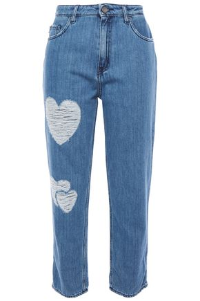 LOVE MOSCHINO Cropped distressed high-rise straight-leg jeans