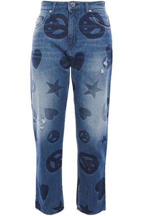 LOVE MOSCHINO Cropped distressed printed high-rise straight-leg jeans