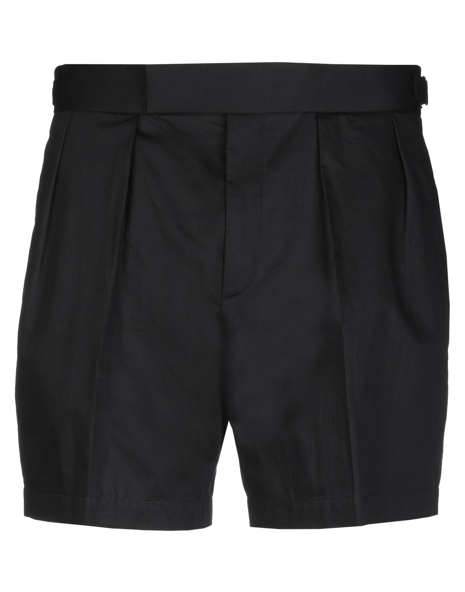 NEIL BARRETT Shorts. twill, folds, strap detailing, basic solid color, high waisted, regular fit, button, zip, multipockets. 71% Cotton, 29% Linen