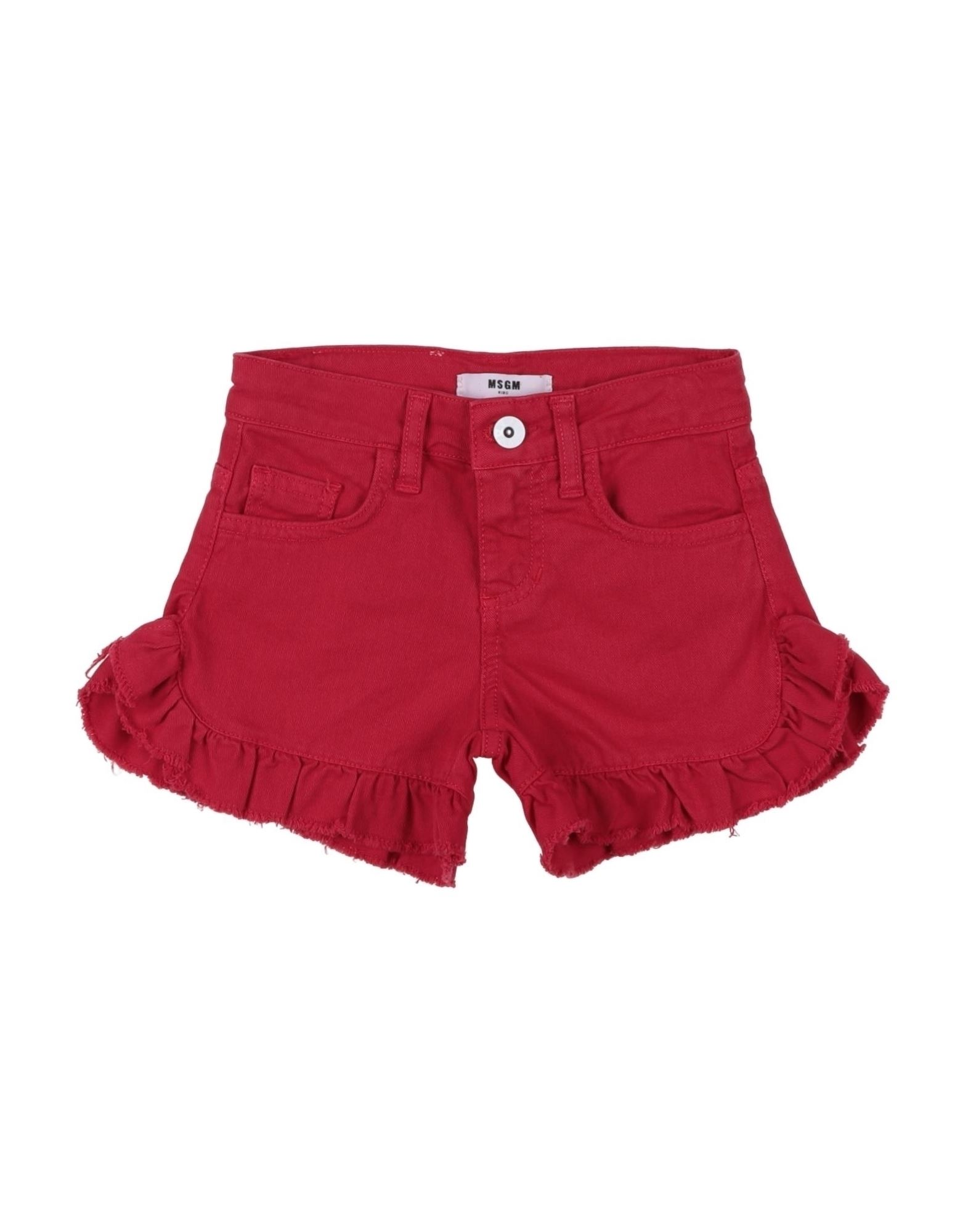 MSGM Shorts. gabardine, ruffles, logo, solid color, mid rise, regular fit, button, zip, multipockets, stretch, hand wash, do not dry clean, iron at 110degree c max, do not bleach, do not tumble dry. 97% Cotton, 3% Elastane